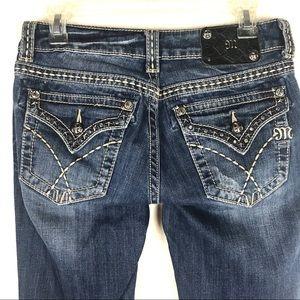 Miss Me Boot Cut Jeans Rhinestone Flap Pockets